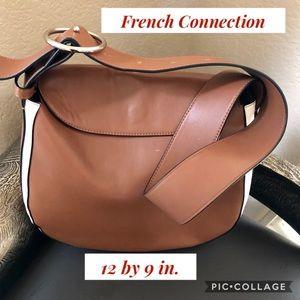 Deep Cognac & White Shoulder Bag